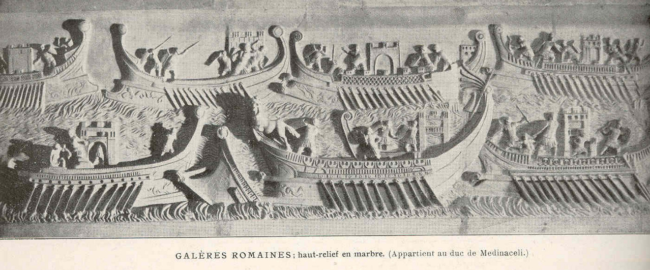 Galères romaines, haut-relief en marbre. © Georges Clerc-Rampal via Wikimedia Commons